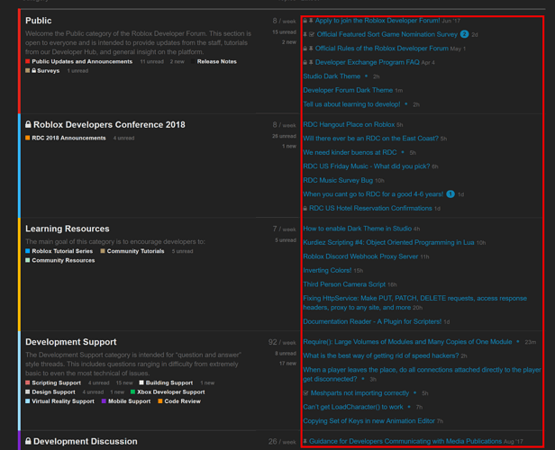 Developer Forum Dark Theme - Public Updates and