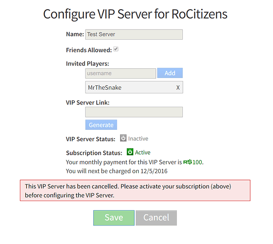 Vip Servers Do Not Show Cancellation Status Website Bugs
