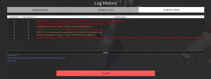 Server Log History (Released) - Community Resources - Roblox