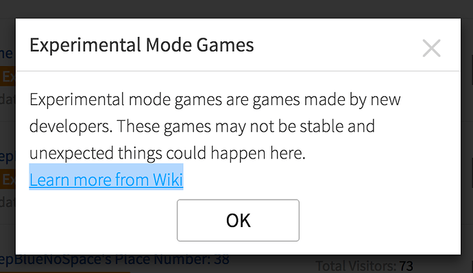 Experimental Mode Wiki Link Misdirects To The Develop Page - developer wiki roblox