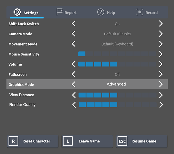 More control over graphics settings: separating render