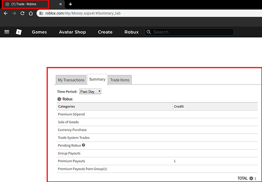 Summary Page S Tab Is Still Called Trade Roblox Website Bugs