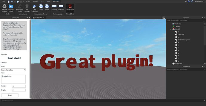 ThreeDText Plugin: Generate 3D text quickly! - Community Resources