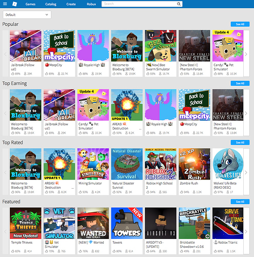 How To Make A Front Page Game On Roblox - Design Changes To Game Tiles Limited Rollout