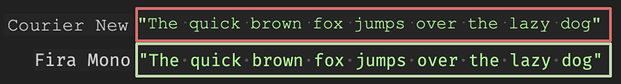 Side-by-side text shows difference between fonts
