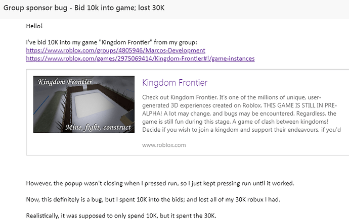 What Does Bid In Robux Do Sponsored Game Ad Window Lets You Repeatedly Spend R Without Closing Website Bugs Roblox Developer Forum