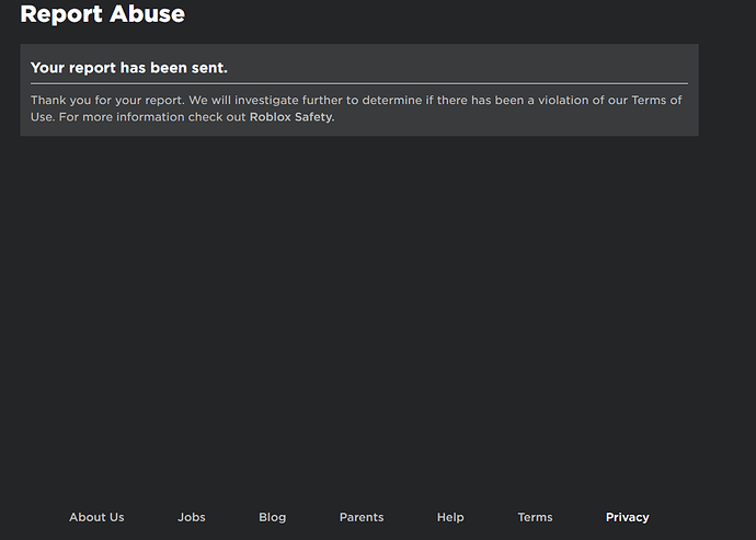 Report Abuse Success Page Does Not Have A Back Button Website