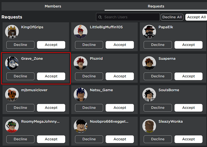 Player Search On Join Requests Tab Loads Forever On New Group
