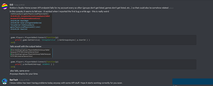 Roblox Groups Api Broken For My User Account But Not For Others