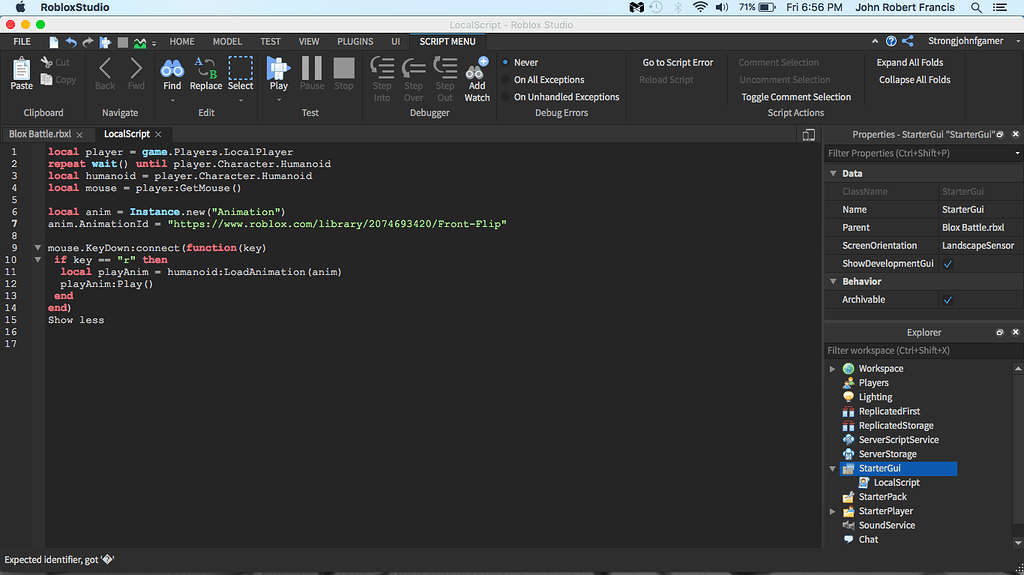 Key Down Animation Script Isn T Working Scripting Support