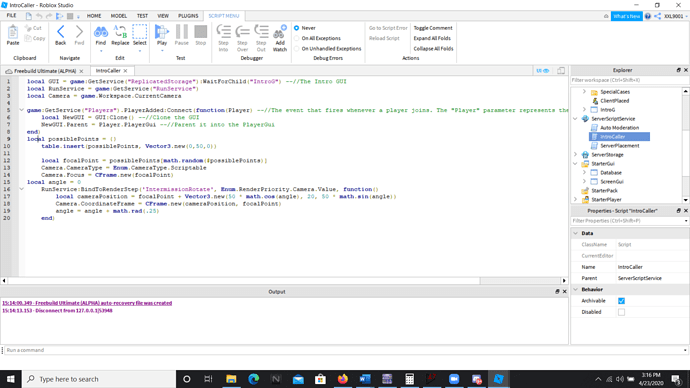Roblox Change Camera Mode Via Script How Do I Code In A Camera Position Change For Players During Intro Sequence Scripting Support Roblox Developer Forum