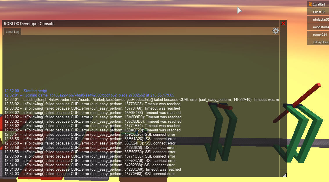 Developer Console Isn T Showing Server Log In My Own Game Engine - roblox games login