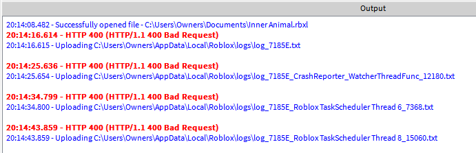 HTTP 400 (HTTP/1 1 400 Bad Request) spam - Studio Bugs - Roblox
