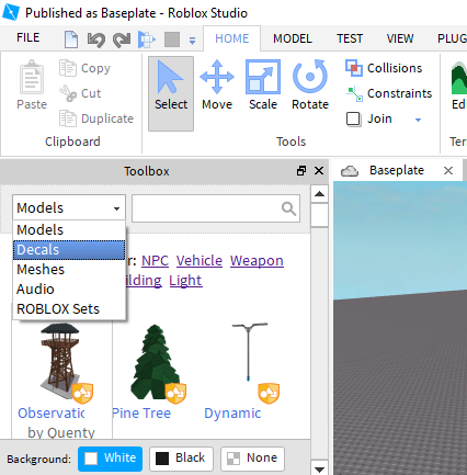 Toolbox Missing My Options In Some Instances Studio Bugs - roblox roblox developer decal