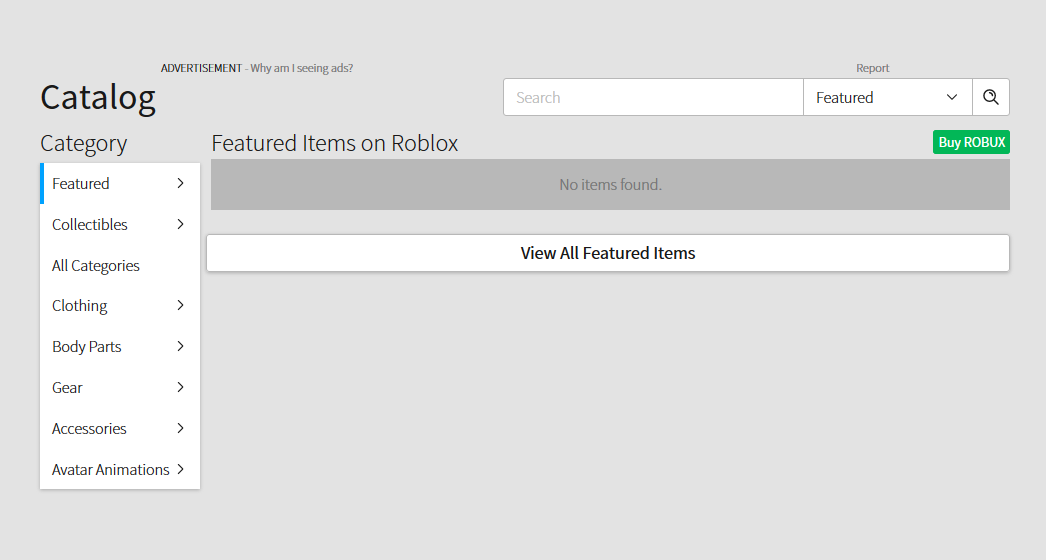 New Catalog Page Shows No Items By Default Website Bugs Roblox
