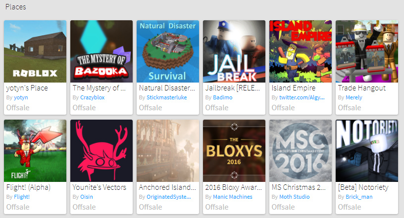 Roblox Favorites Users Favorite Games Marked As Offsale Website Bugs Roblox Developer Forum