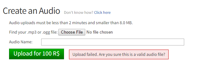 Mp3 To Roblox Sound Roblox - Unable To Upload Mp3 Files Website Bugs Roblox
