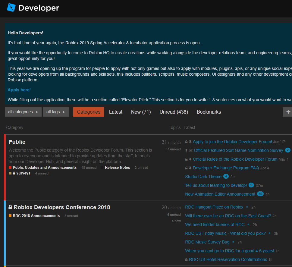 Developer Forum Dark Theme Public Updates And Announcements