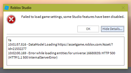 My Game Is Not Loading Robloxcritical Studio Bugs Roblox