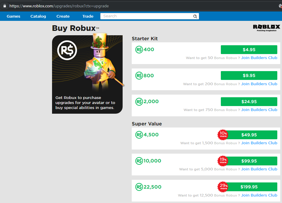 Purchasing Robux Offers Lower Amounts Move To Web Features