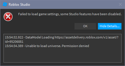 Failed To Load Game Settings Error On Baseplate Studio Bugs