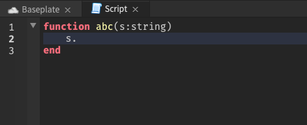 With the cursor on a function parameter within a function, no autocomplete suggestions are shown