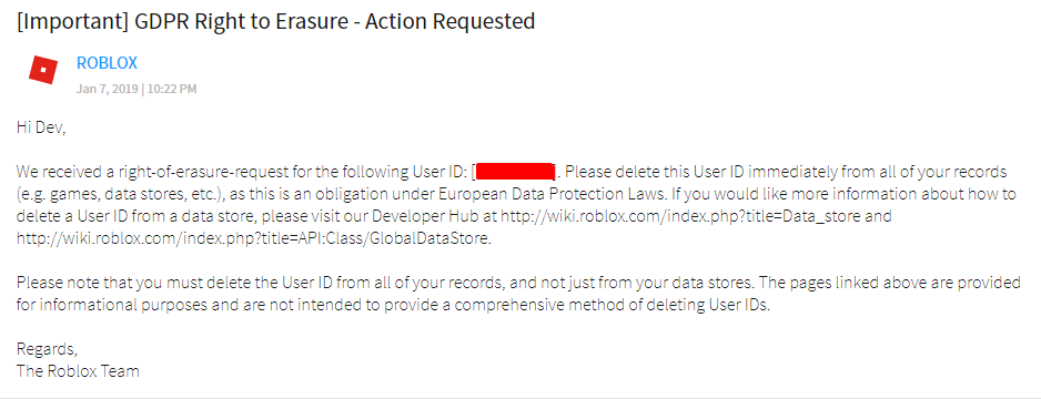 Gdpr Right Of Erasure Message Unable To Delete Data - roblox cant join game script