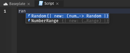 """With the cursor after text reading """"ran"""", only """"Random"""" and """"NumberRange"""" are suggested"""