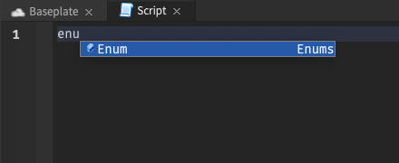 """With the cursor after text reading """"enu"""", only """"Enum"""" is suggested"""