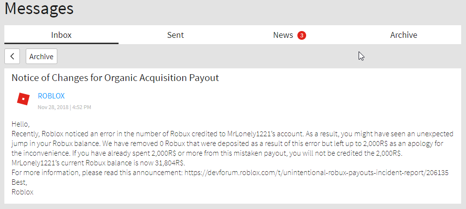 Unintentional Robux Payouts Incident Report - Developer