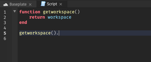 """With the cursor after a function that returns """"workspace"""", there are no autocomplete suggestions"""