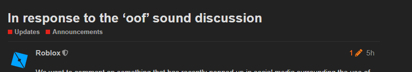 In Response To The Oof Sound Discussion Announcements Roblox
