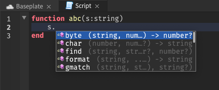 With the cursor on a function parameter within a function, several autocomplete suggestions are shown