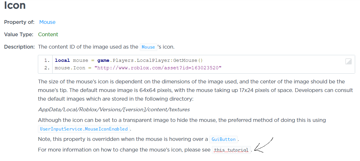 Broken link on the Mouse Icon API page - Developer Hub