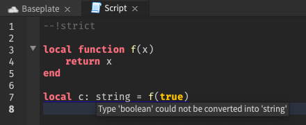 Script Analysis will flag type errors in strict mode