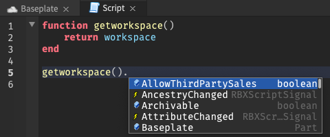 """With the cursor after a function that returns """"workspace"""", there are several autocomplete suggestions"""