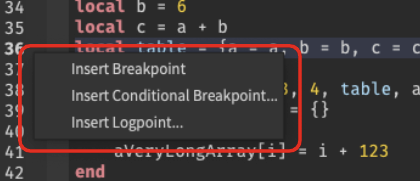 Context menu to insert Standard Breakpoint, Conditional Breakpoint and Logpoint