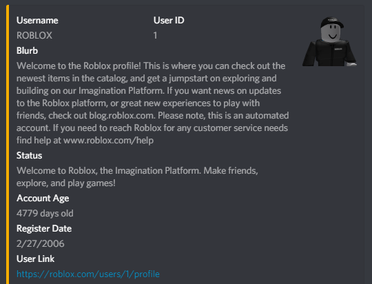New Roblox Search Discord Bot Community Tutorials - roblox username from id