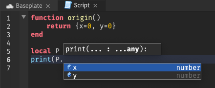 With the cursor on a table returned by a function, several autocomplete suggestions are shown