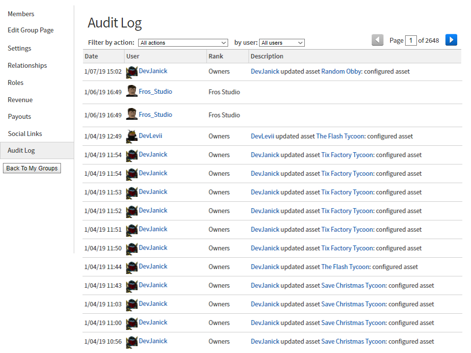 Move Audit Log Into Group Admin Website Features Roblox