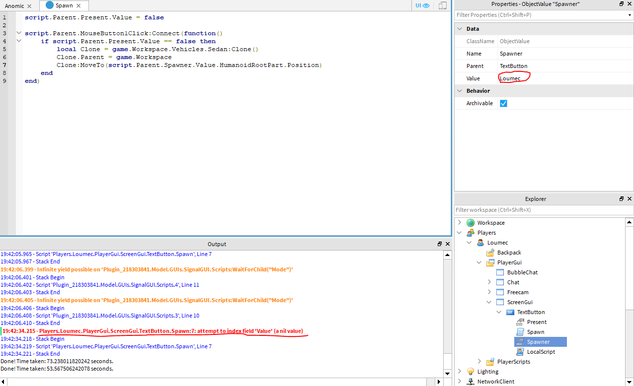 Why Does This Value Return Nil Scripting Support Roblox