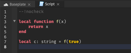 Script Analysis does not flag type errors in nocheck mode