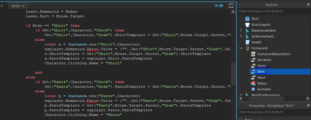Roblox Script Instance Trying To Make Old Try On Clothing Tool Server Sided Scripting