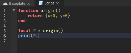 With the cursor on a table returned by a function, no autocomplete suggestions are shown
